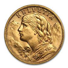 1935-B Switzerland Gold 20 Francs Helvetia AU