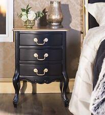Juliette Black and Gold Bedside table with 3 drawers. ASSEMBLED bedside cabinet