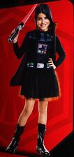 Kids Girls DARTH VADER Halloween Costume Dress Hat Star Wars Purim Lg 10 12 NEW