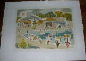 Harbor Scene Lithograph Vincent Vidrine Listed American Artist