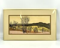 Vintage 70's STYLE Ron's Illinois Midwest Watercolor Landscape Painting Framed