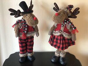 "Set Of 2 Boy And Girl Standing Reindeer PLUSH 22"" CHRISTMAS Rustic Decor"