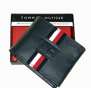 Tommy Hilfiger Mens Leather Wallet Valet Billfold Navy Blue Red/Wh RFID NWT RARE