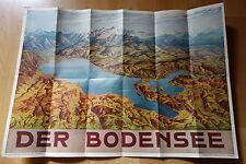 Reiseprospekt ,großes  Vogelschaupanorama Bodensee um 1930