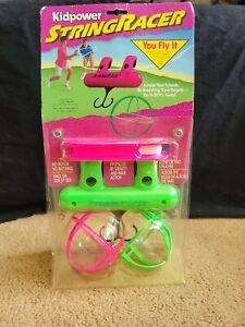 Vintage Kidpower String Racer 80s 90s Flying Zip LIne Gravity Toy Pink Green