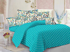Welhouse Blue & Polka Soft Feeling Double Bedsheet with 2 CONTRAST Pillow Cover