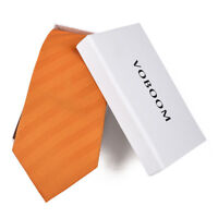 Genuine 100% Silk Ties Luxury Men's Herringbone Ties Classic Silk Ties Orange