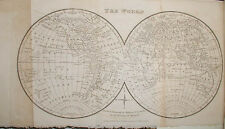 1825 ENGLISH GEOGRAPHY LESSONS & WORLD HEMISPHERE MAP