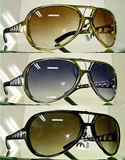 ELVIS SUNGLASSES 3 PACK SUNGLASSES AVIATOR LARGE gold silver black METAL ARMS