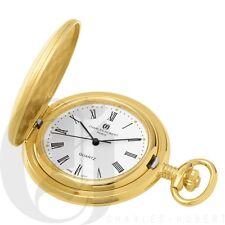 New Charles-Hubert Gold-Plated Brushed Finish Quartz Pocket Watch & Chain 3410