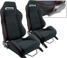 NEW 1 PAIR BLACK CLOTH & RED STITCHING ADJUSTABLE RACING SEATS ALL HONDA