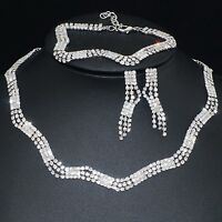 V41 VF Austria Crystal Alloy Earrings Bracelet Necklace Set Ring 8# Wedding Prom