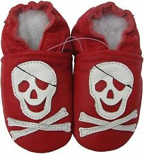 carozoo pirate red 2-3y soft sole leather toddler shoes