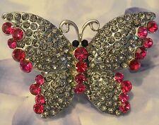 Dolly-Bijoux Fantaisie Grosse Bague Papillon Pavé Cristal Swarowsky Gris 55 mm