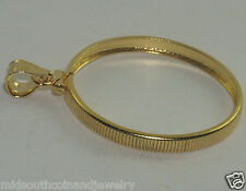 Coin Bezel Frame SACAGAWEA DOLLAR Reeded Edge 1/20th 14K Gold Soldered Bail USA