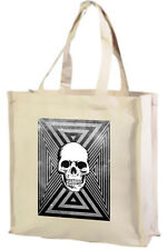 Tri Skull Cotton Shopping Bag, Choice Of Colours, Black, Cream,