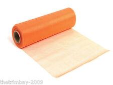 Orange Organza Nieve Cinta escarpada Runner Silla lazos 29cm por 25 m de Poste LIBRE