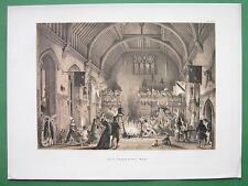 ENGLAND Penshurst Hall Kent Celebration - Tinted Antique Print by Nash