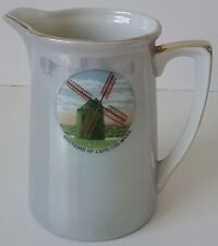 Souvenir Chatham Cape Cod Mass MA Blue Luster Pitcher Pictorial Wind Mill 1950's