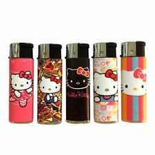 5 Hello Kitty Lighters Cute Pink Press Light Full Size