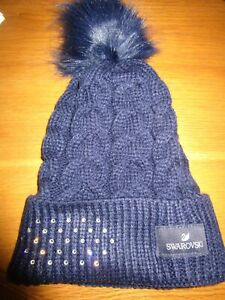 Swarovski Women's Cable Beanie Hat   Navy Blue  NEW IN BOX