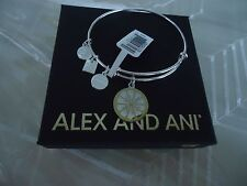 Alex and Ani ZEST FOR LIFE II  Shiny Silver Finish Bangle New W/Tag Card & Box