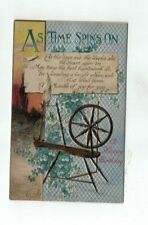 Antique Embossed Birthday Post Card Spinning Wheel Forget-Me-Nots Sunset