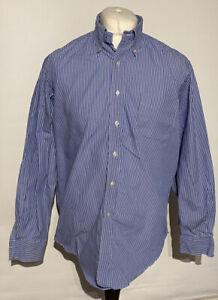 """Lauren Ralph Lauren Men's Shirt 16.5"""" 34/35 Blue Striped 100% Cotton"""