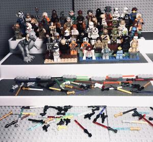 LEGO Lot 55+ StarWars Minifigures Troopers Droids Luke Boba Fett C3PO Saber/Guns