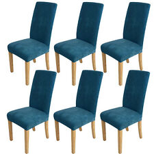 6x Super Fit Stretch Dining Room Chair Covers Slip Cover Protector Washable Blue
