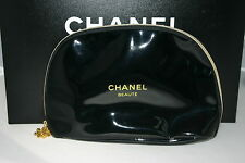 CHANEL LARGE Patent Black snowflake zip detail make up cosmetics case