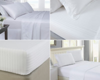 LUXURY 100% EGYPTIAN COTTON 250 TC FITTED/FLAT SHEET  HOTEL QUALITY SATIN STRIPE