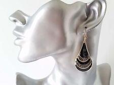 Beautiful 5cm long gold tone - black & sparkly glitter teardrop shape earrings