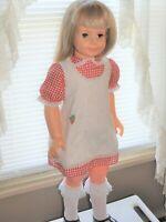 "Patty Playpal 1981 35"" Blue Eyes Platinum Blonde hair Red & White checked dress"