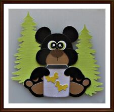 Cute Black Bear Handmade Paper Piecing Embellishment 4 Cards Pages SC4S