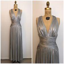 Calvin Klein Womens Silver Metallic Formal Evening Dress Gown 6 P Goddess Maxi