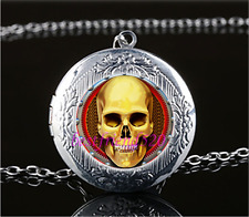 STEAMPUNK GOLDEN SKULL Cabochon Glass Tibet Silver Locket Pendant Necklace