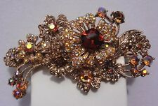 "Kirks Folly ""Twilight Primrose Barrette"" Hair Jewelry - Amber / Topaz Crystals"