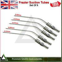 Dental Surgical Frazier Suction Tube Diagnostic Aspirator Instruments Set Of 5
