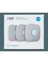 Google Nest Protect Smoke + Carbon Monoxide Alarm Detector Battery Type - 3 Pack