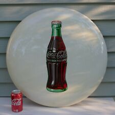 Original Vintage (1952) COCA-COLA Embossed Metal Button Sign; Free Shipping!