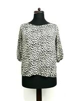 JAEGER 100% Silk Black Off-white Ditsy Pattern Top Blouse 10 12