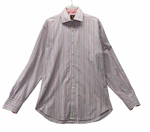 Tailorbyrd Men's Long Sleeve Button Front Shirt Size L Stripes Contrast Cuffs