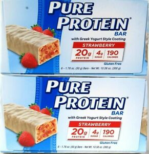 2 Boxes Pure Protein 10.58 Oz Strawberry Greek Yogurt Coat 6 Ct 20g Protein Bar