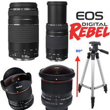 8MM ULTRA FISHEYE + Canon EF 75-300mm f/4-5.6 III + TRIPOD FOR CANON EOS REBEL