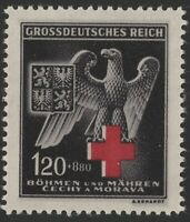 Stamp Germany Bohemia Czech Mi 132b Sc B21 1940 WWII Occupation Red Cross MNH