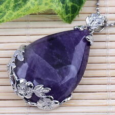 1x Natural Amethyst Gemstone Gem Teardrop Flower Pendant Bead For Necklace Chain