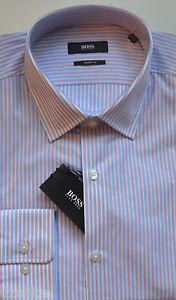 NWT Hugo Boss Black by Hugo Boss Sharp Fit Stripe Pattern Dress Shirt