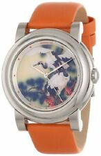 New Mens Invicta 12131 Bird Watch Dial Orange Leather Swiss Quartz Watch