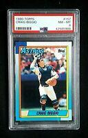 1990 Topps Baseball Craig Biggio 2nd Year Card #157 PSA Graded 8 NM~MT